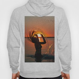 Water and sunset in the backlight Hoody