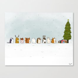 winter animals on the christmas tree Canvas Print