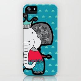 Doodle Elephant on Blue Background iPhone Case