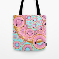 donuts Tote Bags featuring Donuts by Ilya Konyukhov