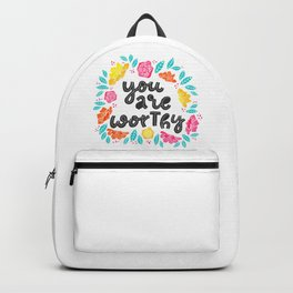 you are worthy - hand drawn quotes illustration. Funny humor. Life sayings. Backpack