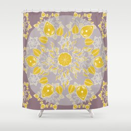 Goldenrod and Mauve Princess Patterned Mandala Textile Shower Curtain