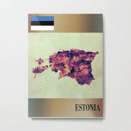 Estonia Map with Flag Metal Print