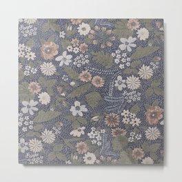 Seafoam Floral Pattern Metal Print
