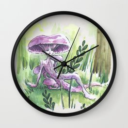 Empire of Mushrooms: Laccaria Amethystina Wall Clock
