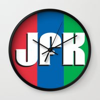 jfk Wall Clocks featuring JFK by spud muther