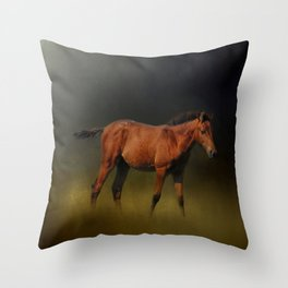 Copper Colt In The Moonlight Throw Pillow