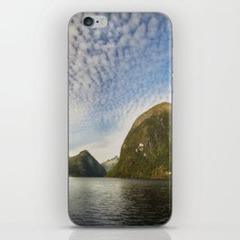Sunglow over interesting Mountain Range at Doubtful Sound iPhone Skin