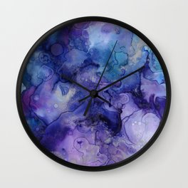 Abstract Watercolor Coastal, Indigo, Blue, Purple Wall Clock
