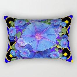 Royal Blue Morning Glories Black Pattern Art Rectangular Pillow