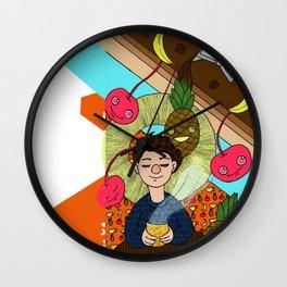 cherry/pineapple coffee/banana Wall Clock