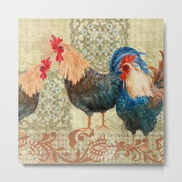Roosters  Menage e Trois  Metal Print