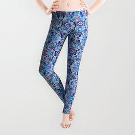 Turquoise Blue Flower Girly  Pattern Leggings