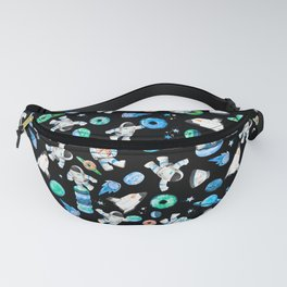 Planet Donuts Watercolor Astronaut Pattern Blue Fanny Pack