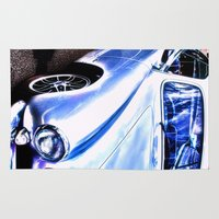 sports Area & Throw Rugs featuring VW Vintage Sports Car by Brian Raggatt