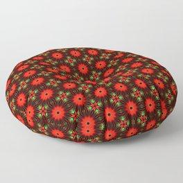 Red Green Christmas Star Mosaic Pattern Floor Pillow