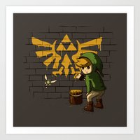 banksy Art Prints featuring Link Banksy by le.duc