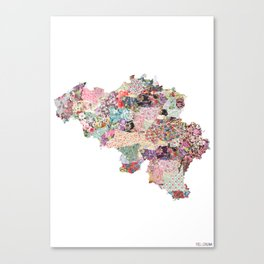 Belgium map - Portrait Canvas Print