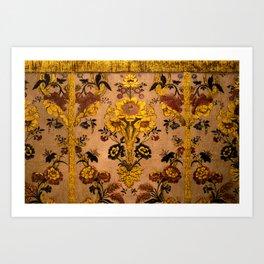 Golden Floral Tapestry Art Print