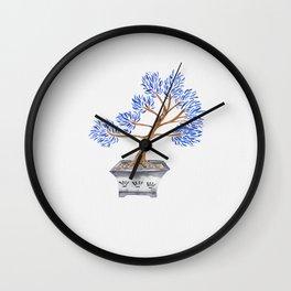 My husband's bonsai 02 in blue Wall Clock