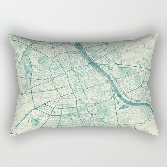 Warsaw Map Blue Vintage Rectangular Pillow