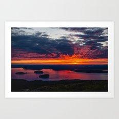 sunrise on cadillac mountain, acadia national park Art Print