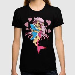 Peach Mermaid Loves Her Shark Plush T-shirt