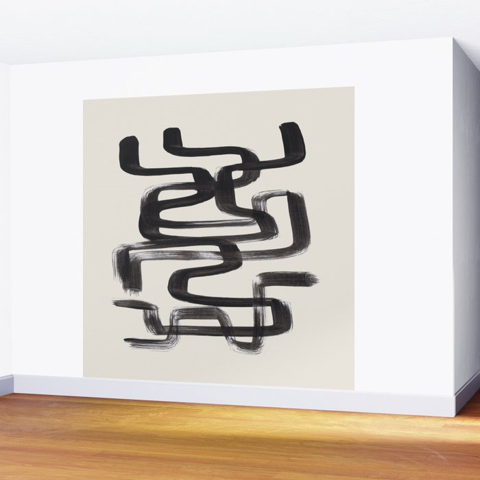 Mid Century Modern Minimalist Abstract Art Brush Strokes Black & White Ink Art Pipe Maze Wall Mural