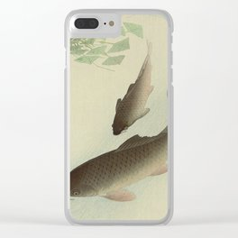 Two Carp and Blooming Water Plants 1926 Japanese Woodblock Print Vintage Historical Japanese Art Clear iPhone Case
