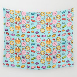 Modern girly pink colorful trendy cute sweet food pattern Wall Tapestry