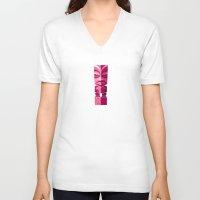 tiki V-neck T-shirts featuring Tiki Idol by Porkpie by Luc Latulippe