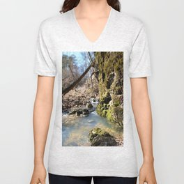 Alone in Secret Hollow with the Caves, Cascades, and Critters - Peering into the Cold, Clear Spring Unisex V-Neck