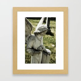 Angelic Statue Carries A Bouquet Of Roses Framed Art Print