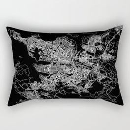 Reykjavik Black Map Rectangular Pillow
