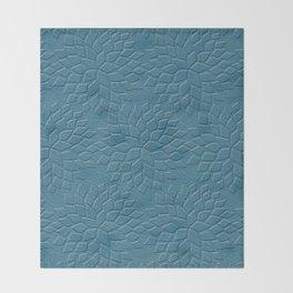 Leather Look Petal Pattern - Niagara Color Throw Blanket