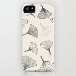 Ginko leaves grey iPhone Case