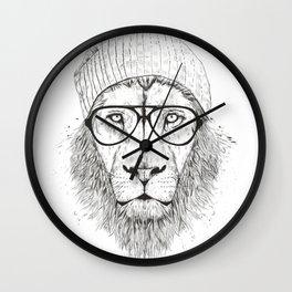 Cool lion (bw) Wall Clock