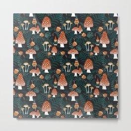 Mushroom Forest Gnomes Metal Print