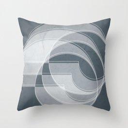 Spacial Orbiting Spiral in Peninsula Blue Throw Pillow