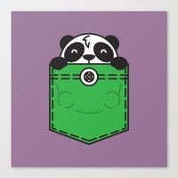 pocket Canvas Prints featuring Pocket Panda by Steven Toang