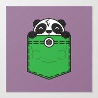 pocket Canvas Prints featuring Pocket Panda by Steven Toang