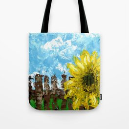 Fenced Sunflower Tote Bag