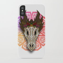 The Curved Horned Dragon Skull Boho-Style iPhone Case