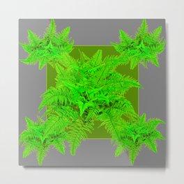 REFRESHING  NATURAL GREEN FERNS  GREY ART Metal Print