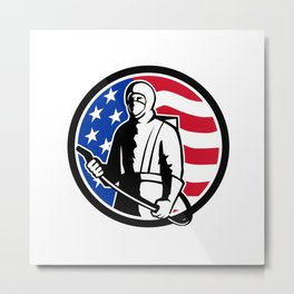 Industrial Worker Spray Disinfectant Standing USA Flag Retro Metal Print
