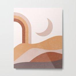 Moon abstract landscape, mid century boho decor, terracotta, earth tones Metal Print