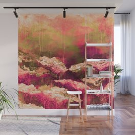 IT'S A ROSE COLORED LIFE 2 - Colorful Floral Garden Chic Abstract Pink White Olive Green Painting Wall Mural