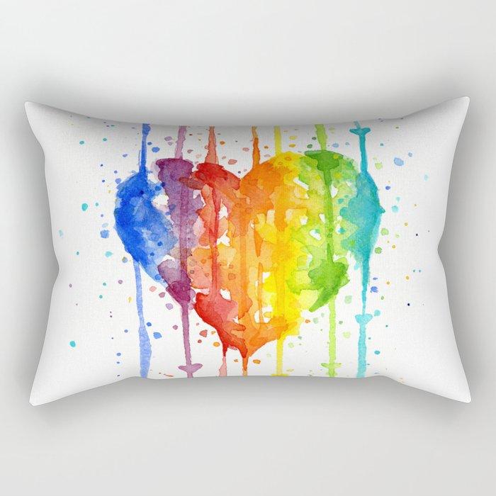 Heart Rainbow Watercolor Love Wins Colorful Splatters Rectangular Pillow