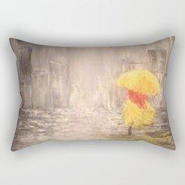 Walking in the Rain 2 Yellow overcoat and yellow umbrella Rectangular Pillow