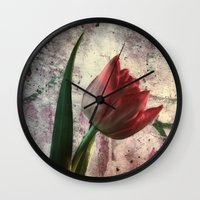asia Wall Clocks featuring asia tulip by lucyliu
